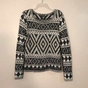 Lucky Black and White Geometric Aztec Knit Sweater